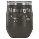 Mommy's Sippy Cup 12 oz White Stainless Steel Stemless Wine Tumbler - Funny Mother Mama Mom Christmas Birthday New Joke Lid Mug Wine Tumbler teelaunch Pewter