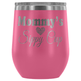 Mommy's Sippy Cup 12 oz White Stainless Steel Stemless Wine Tumbler - Funny Mother Mama Mom Christmas Birthday New Joke Lid Mug Wine Tumbler teelaunch Pink