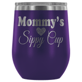 Mommy's Sippy Cup 12 oz White Stainless Steel Stemless Wine Tumbler - Funny Mother Mama Mom Christmas Birthday New Joke Lid Mug Wine Tumbler teelaunch Purple