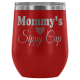 Mommy's Sippy Cup 12 oz White Stainless Steel Stemless Wine Tumbler - Funny Mother Mama Mom Christmas Birthday New Joke Lid Mug Wine Tumbler teelaunch Red
