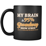 My Brain Is 95% Broadway Lyrics Mug- Funny Theatre Musical Fan Merchandise Coffee Cup - Luxurious Inspirations