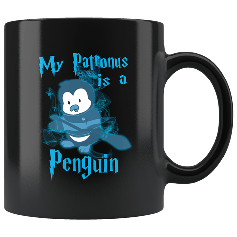 My Patronus Is A Penguin Mug - Funny Wizard Winter Animal Loving Penguins Zoo Coffee Cup Drinkware teelaunch black
