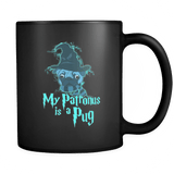 My Patronus Is A Pug Mug - 2018 Wizard Magic Lovers Cute Animal Pugs Coffee Cup Drinkware teelaunch black