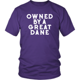 Owned By A Great Dane T-Shirt - Funny Greatdane Lovers Mom Dad Puppy Tee Shirt T-shirt teelaunch District Unisex Shirt Purple S