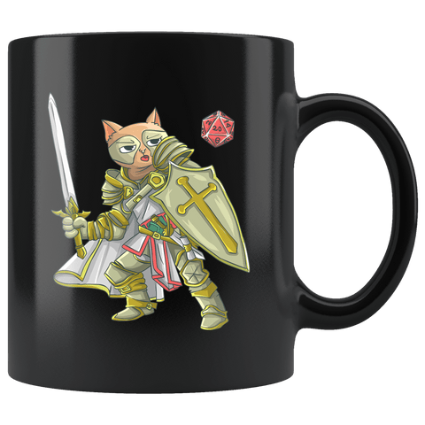 Paladin Cat Black Mug - Funny Class DND D&D Dungeons And Dragons Coffee Cup Drinkware teelaunch black