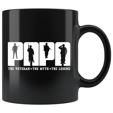 Papa The Veteran Myth Legend Mug - Great Father's Day Coffee Cup Drinkware teelaunch black