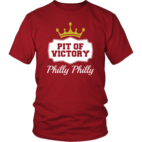 Philly Philly! Pit Of Victory Tee Shirt - Funny Football Philadelphia Dilly Football Fans T-Shirt philly teelaunch District Unisex Shirt Red S