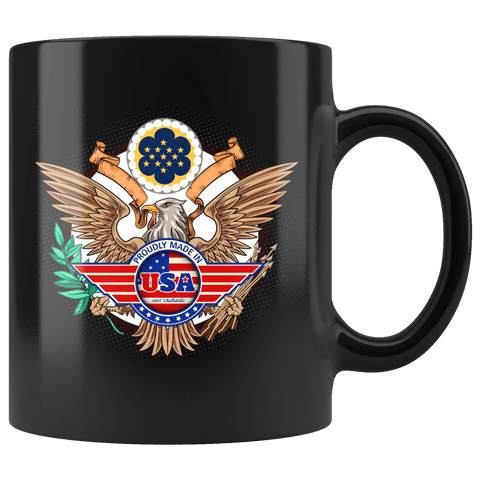 Proudly Made in The USA Mug - America American Patriotic Veteran Army Navy Airforce Support Proud Coffee Cup Drinkware teelaunch black