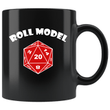 Roll Model Mug - Funny DND D20 Critical Hit RPG Roleplaying Dice Coffee Cup Drinkware teelaunch black