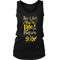 Run Like You're Late For Platform 9 3/4 Harry Wizard Funny Workout RGB Women's Gym Tank top Tanktop - Luxurious Inspirations