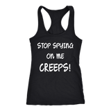 Stop Spying On Me Creeps Racerback Tank - Funny Hawkins Fan Workout Shirt - Luxurious Inspirations