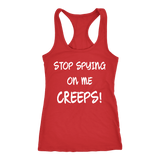 Stop Spying On Me Creeps Racerback Tank - Funny Hawkins Fan Workout Shirt T-shirt teelaunch Next Level Racerback Tank Red XS