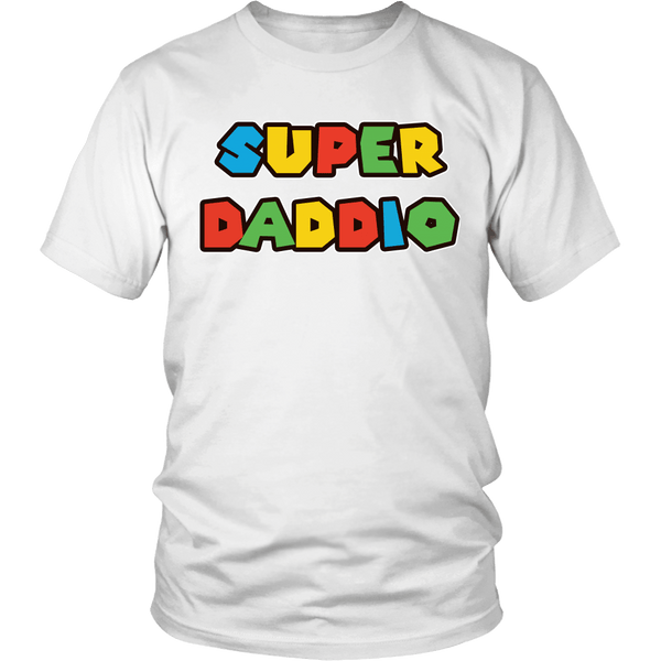 Super Daddio Shirt - Funny Mario Dad Tee T-shirt teelaunch District Unisex Shirt White S