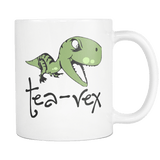 Tea Rex Mug - Funny Sarcastic Dinosaur 11oz White Coffee Cup - Luxurious Inspirations
