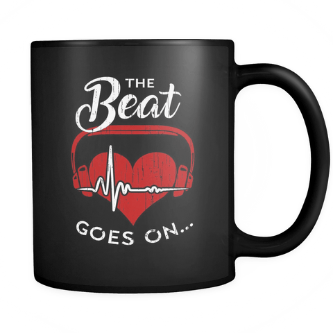 The Beat Goes On Heart Attack Stroke Survivor Gifts Mug - Get Well Soon Coffee Cup Drinkware teelaunch black
