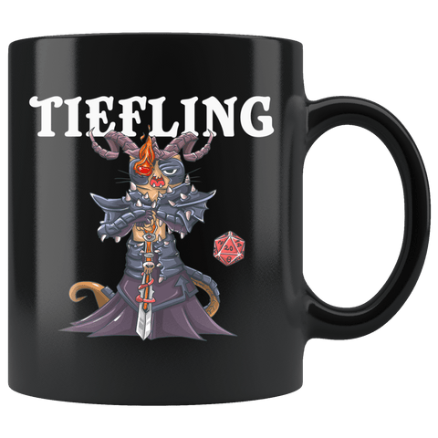 Tiefling Cat Black Mug - Funny Class DND D&D Dungeons And Dragons Coffee Cup - Luxurious Inspirations