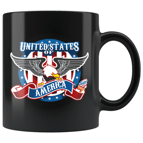 United States Of America American Eagle Patriot Mug - Freedom Pride USA Coffee Cup Drinkware teelaunch black