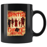 Wanted DND Chaotic Neutral Black Mug - Funny D&D Poster Game Coffee Cup Drinkware teelaunch black