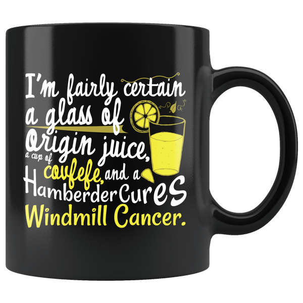 Windmill Cancer Covfefe Funny Anti Trump Mug - ITMFA Stable Genius POTUS Coffee Cup Drinkware teelaunch Black