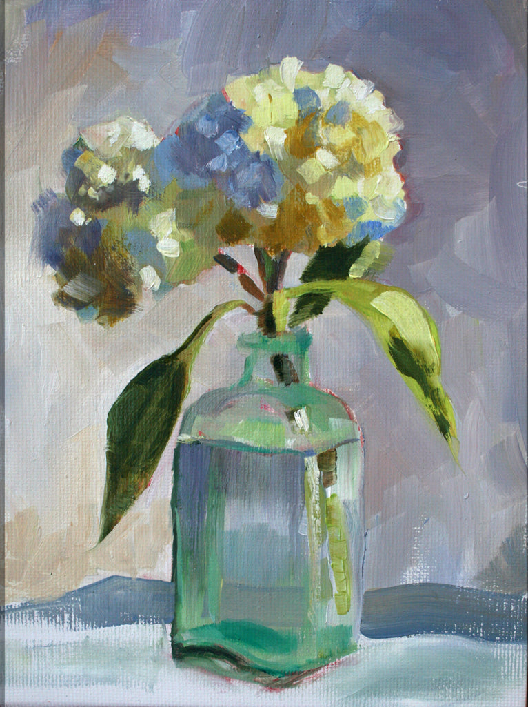 Little Jar with Hydrangea still life