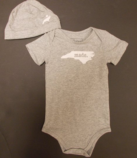 Made in North Carolina Grey Bodysuit and Hat Set 100% Cotton