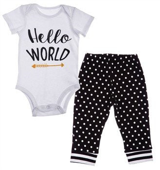 Hello World Cotton Apparel Set, Black and White
