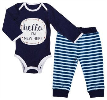 Hello I'm New Here Cotton Apparel Set, Navy