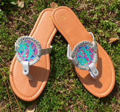 Gold or silver monogram sandals with lily pulitzer inspired pattern