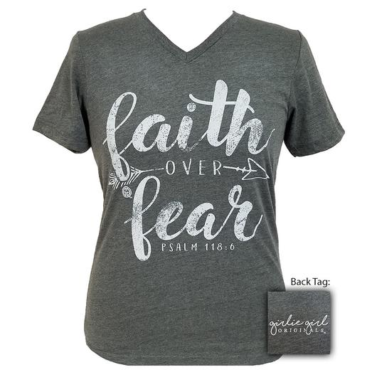 Girlie Girl Faith Over Fear Dark Heather
