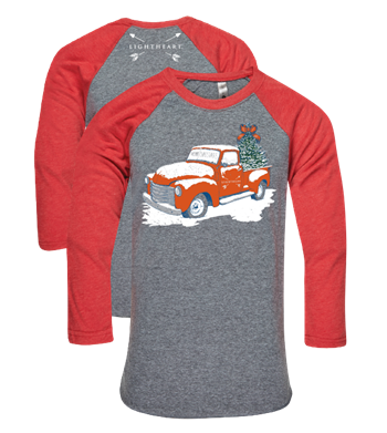 Light Heart Merry Christmas Truck BB Tee - Premium Heather/Vintage Red