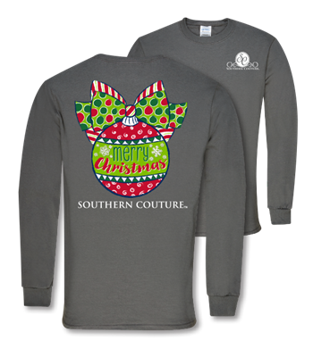 Southern Couture Classic Christmas Ball Long Sleeve Charcoal