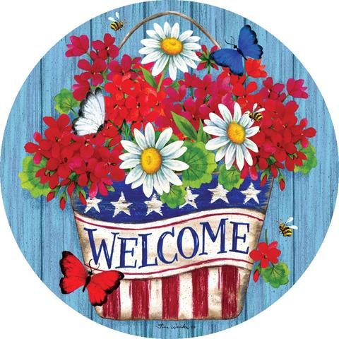 Patriotic Flowers Welcome Accent Magnet