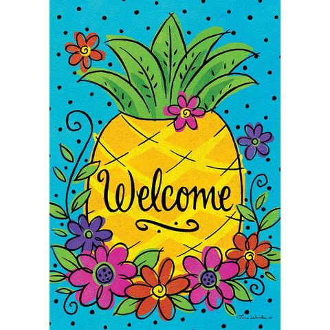 Pineapple Flowers Double Sided House Flag