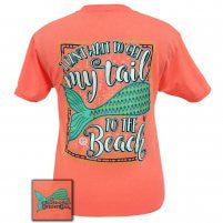 Mermaid Tail Retro Heather Coral Short Sleeve