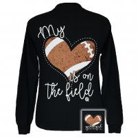 Girlie Girl Long Sleeve Black Heart on The Field