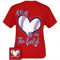 Girlie Girl Originals: Short Sleeve My Heart Baseball T-Shirt