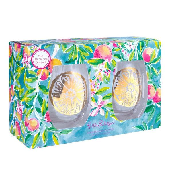Lilly Pulitzer Stemless Wine Glass Set