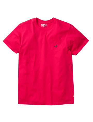 STAPLE PIGEON MINI POCKET LOGO TEE - FUSCHIA
