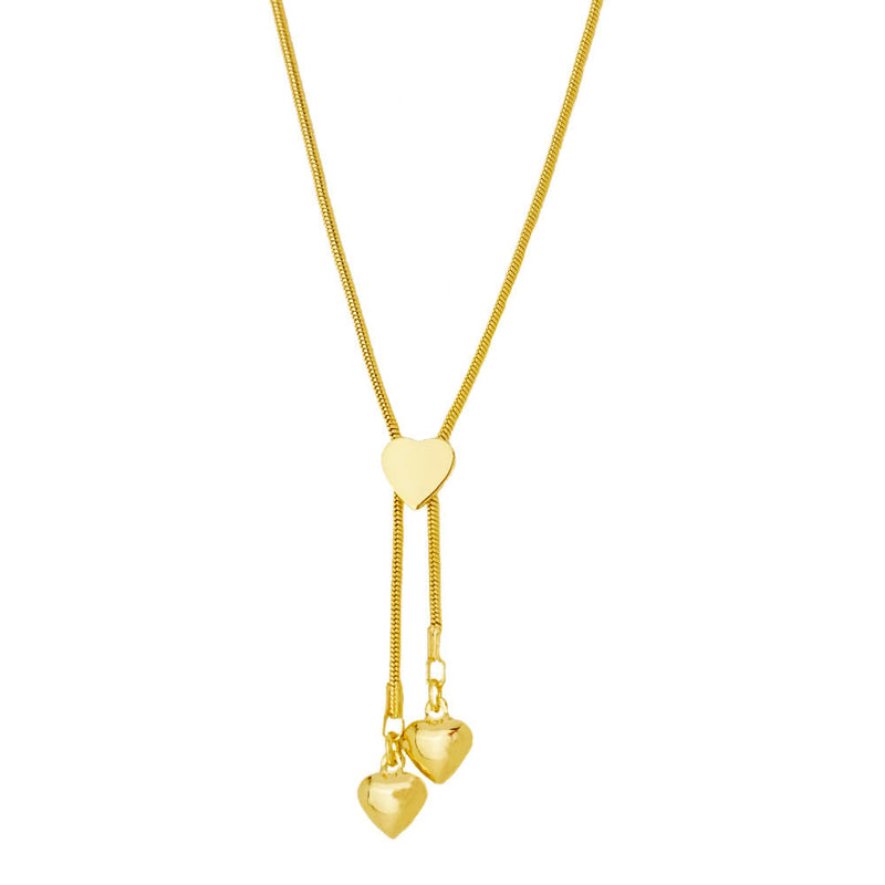 drop heart lariat necklace 18k gold overlay oro laminado