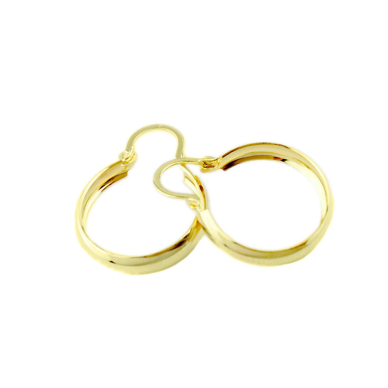 18KGL 15MM HC PLAIN HOOP EARRINGS - Donna Italiana ®