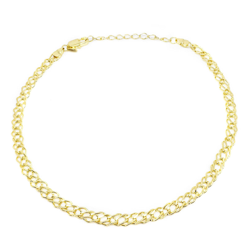 choker 18k gold overlay double curb chain
