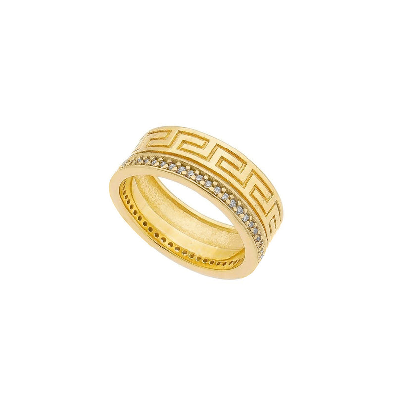 18K Gold Layer Aztec Ring