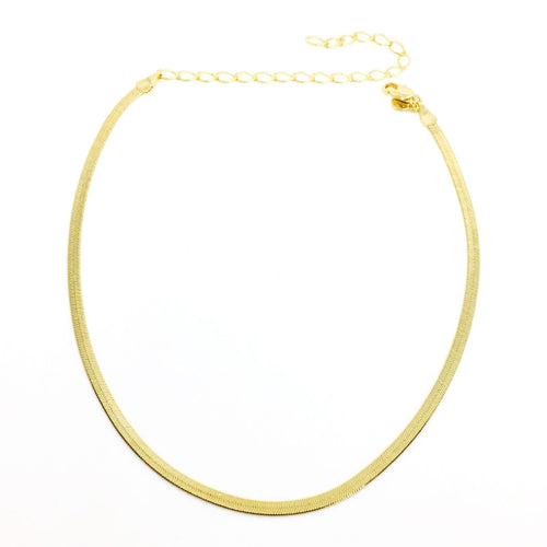 "18K GL 11"" Herringbone Chain 3mm - Donna Italiana ®"