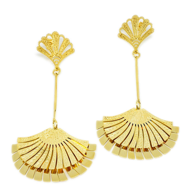 18K GL Abanico Drop Earring - Donna Italiana ®