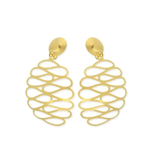 18k GL Bee Hive Dangle Earrings - Donna Italiana ®