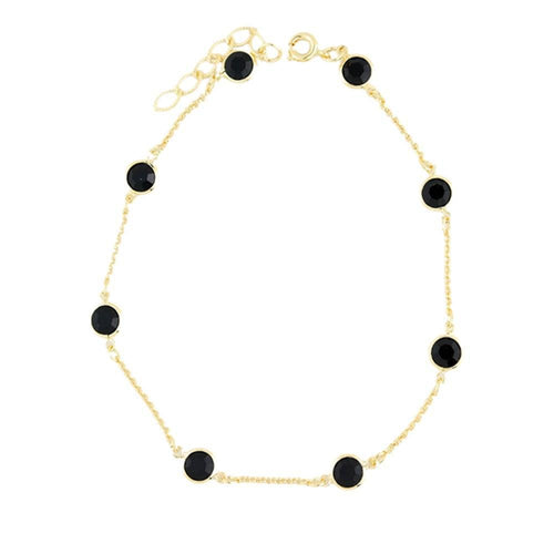 "18K GL Black Cir Anklet 9"" Ad - Donna Italiana ®"