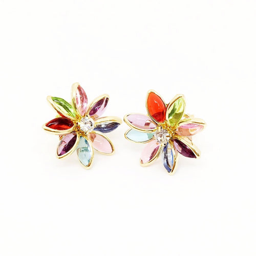 18k GL Colorful Crystal Flower Studs - Donna Italiana ®