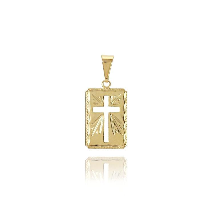 18k GL Cross Tag Pendant Diamond Cut - Donna Italiana ®