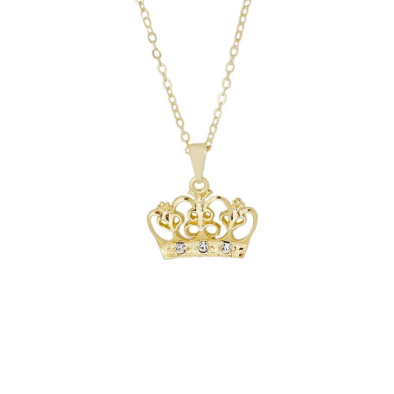 18k GL Crown CZ Pendant - Donna Italiana ®