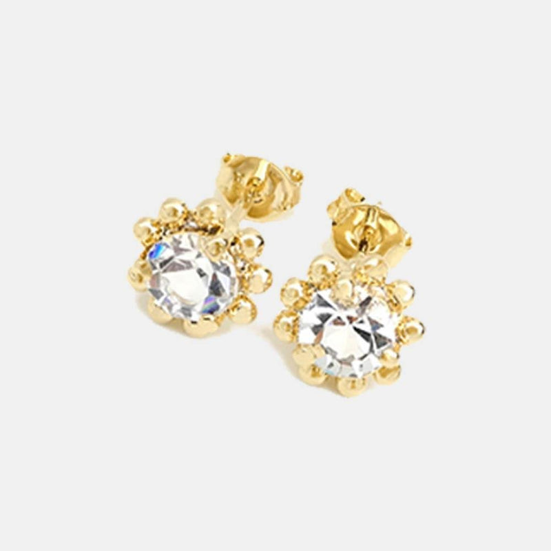 18K GL Crystal Flower Studs - Donna Italiana ®